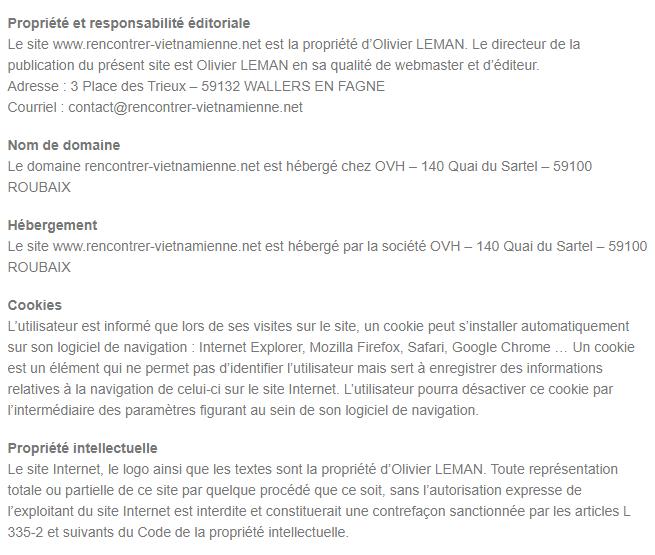 Mentions Légales du Site Rencontrer-VietNamienne.Net